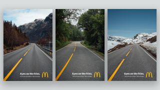 A trio of McDonald's print ads featuring roads running through different landscapes