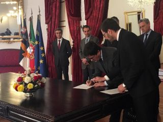 Portuguese officials sign the charter to establish the national space agency, Portugal Space, at a ceremony on São Miguel Island on March 18, 2019.