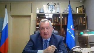 Roscosmos chief Dmitry Rogozin speaks virtually at the 71st International Astronautical Congress on Oct. 12, 2020.
