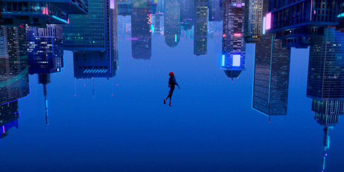 Miles Morales taking a dive in Into The Spider-Verse