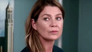 Grey's Anatomy Meredith Grey looks serious.