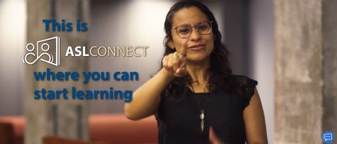 Screenshot of woman signing at camera with 'ASL Connect' written over image
