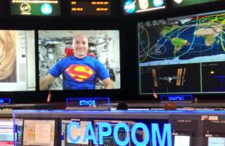 European Space Agency astronaut Luca Parmitano dressed up as Superman in honor of Halloween. Image released Oct. 31, 2013.
