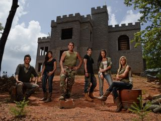 "The family behind the National Geographic Channel's ""Doomsday Castle."" From left to right: Brent II, Lindsey, Brent, Michael, Ashley, Dawn-Marie."