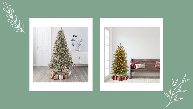 A collage image of some of the best artificial Christmas trees to buy for 2021