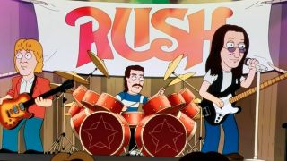 A still showing Rush appearing on Family Guy