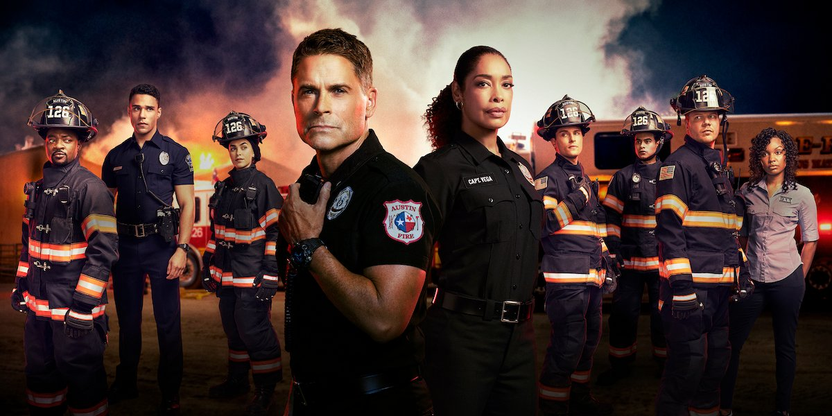 Rob Lowe and cast of 911: Lone Star Season 2
