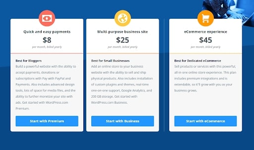 WordPress's pricing plans for ecommerce stores