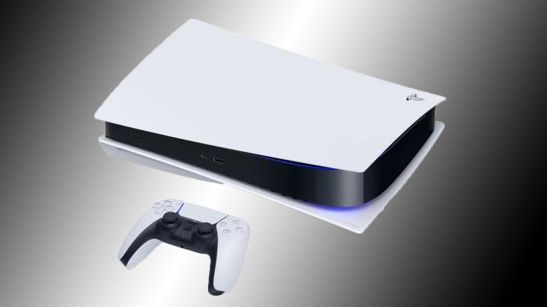 PlayStation 5 on black and grey background