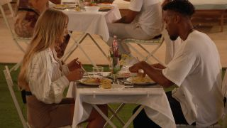 Love Island 2021 - Faye and Teddy have dinner