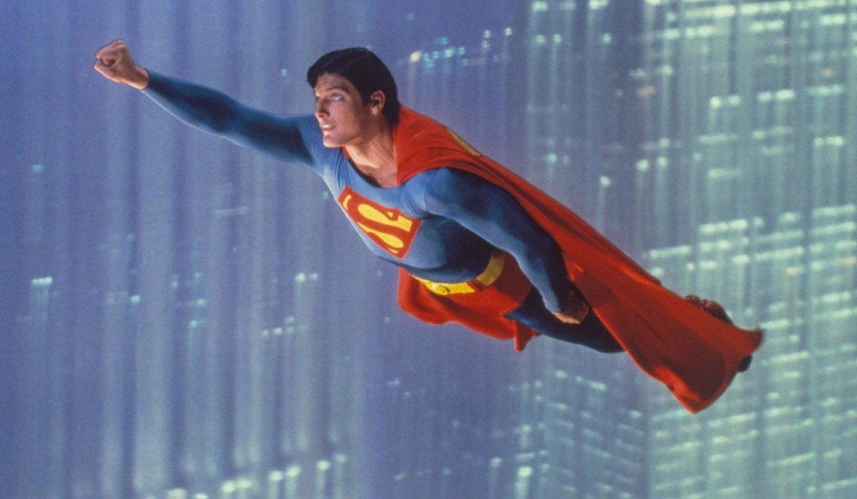Superman: The Movie Christopher Reeve flying up into the air