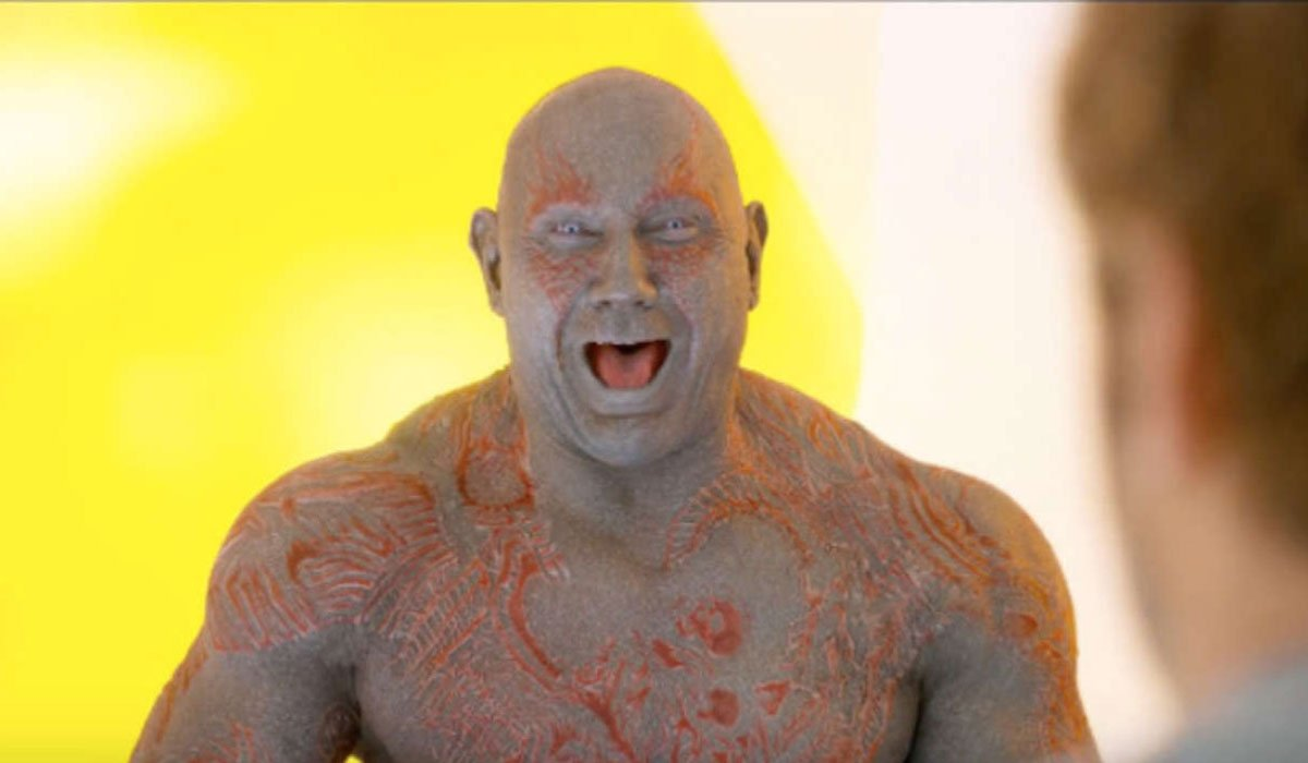 Drax laughing without any shame.