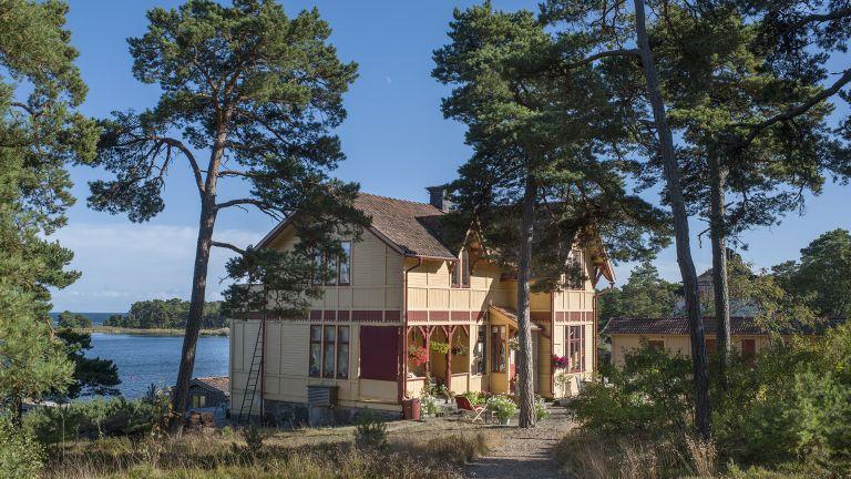 Swedish traditional summer home on an island