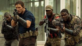 "Chris Pratt, Edwin Hodge and Sam Richardson in ""The Tomorrow War"" on Amazon Prime Video."