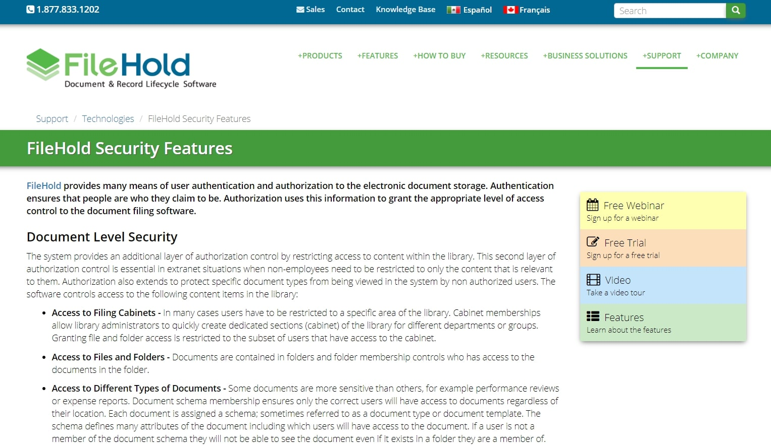 Filehold Systems features page