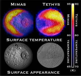 Pac-Man Shapes on Saturn Moons Mimas, Tethys