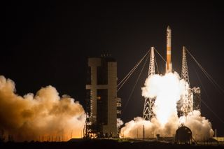 A United Launch Alliance Delta IV rocket carrying the Wideband Global SATCOM 9 communications satellite for the U.S. military lifts off from Space Launch Complex-37 of Florida's Cape Canaveral Air Force Station at 8:18 pm ET on March 18, 2017.