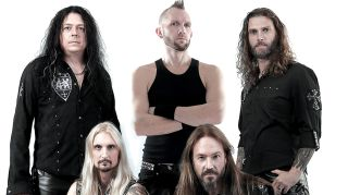 A press shot of Hammerfall taken in 2016