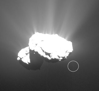 A chunk of orbiting debris (circled) is visible in this view of Comet 67P/Churyumov-Gerasimenko taken by Europe's Rosetta spacecraft in October 2015. Spanish astrophotographer Jacint Roger noticed the object in 2019, after going through Rosetta archival photos.
