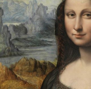 Detail of the copy of the Mona Lisa in the collection of the Museo del Prado during the final phase of restoration.