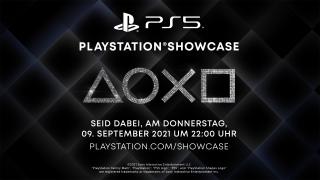 PlayStation Logos mit Information zum nächsten Showcase auf dunklem Hintergrund