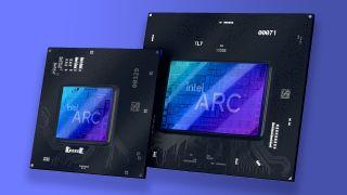 Intel Alchemist GPU renders on a blue gradient background