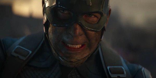 Chris Evans grimacing as Captain America in Avengers: Endgame