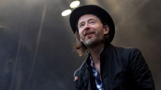 A picture of Thom Yorke at Glastonbury 2011