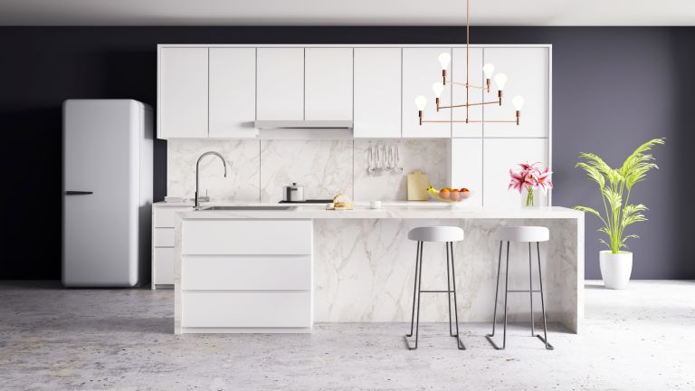 clean kitchen with white cabinets