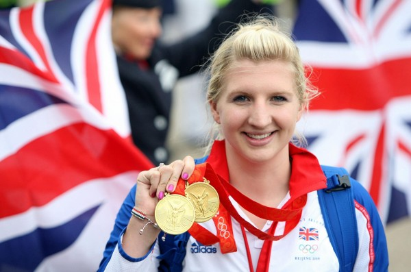 Rebecca Adlington shows off her two gold medals