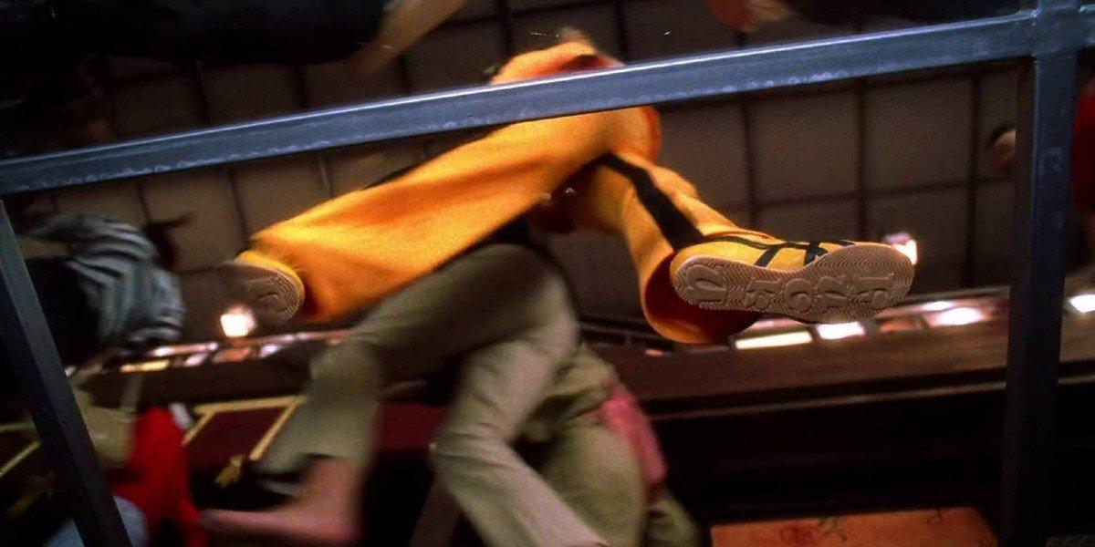 """Screenshot of Uma Thurman's """"Fuck U"""" Shoes from Kill Bill Vol. 1"""