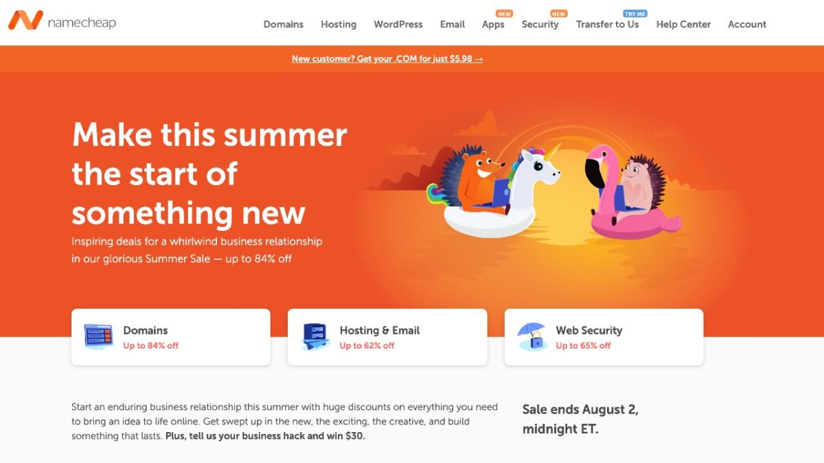 Bring your idea to life with Namecheap's exclusive summer sale