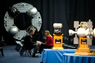 NASA Deputy Administrator Lori Garver talks with Bigelow Aerospace President Robert Bigelow prior to touring their facilities on Feb. 4, 2011 in Las Vegas. NASA has been discussing potential partnership opportunities with Bigelow for its inflatable habita
