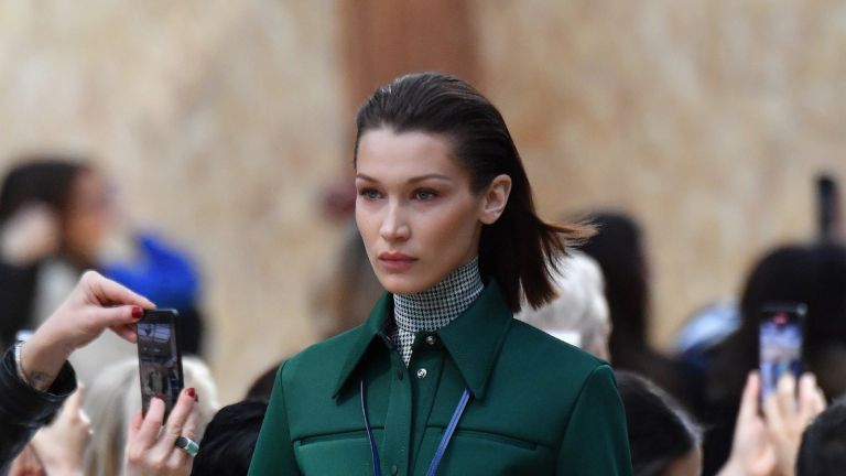 Bella Hadid walks the runway during the Lacoste as part of the Paris Fashion Week Womenswear Fall/Winter 2020/2021