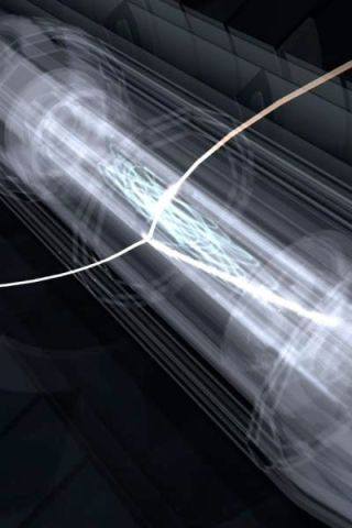 artist's conception shows the ALPHA trap, which captured and stored antihydrogen atoms.