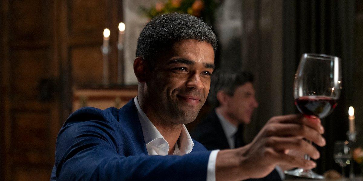 kingsley ben-adir toasting wine glass in amc's soulmates