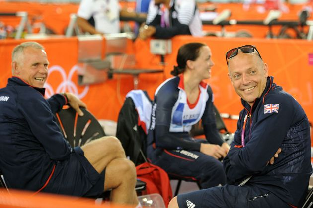 David Brailsford and Victoria Pendleton, track training, London 2012 Olympics