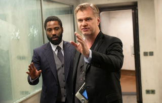 Christopher Nolan and John David Washington on the set of Tenet