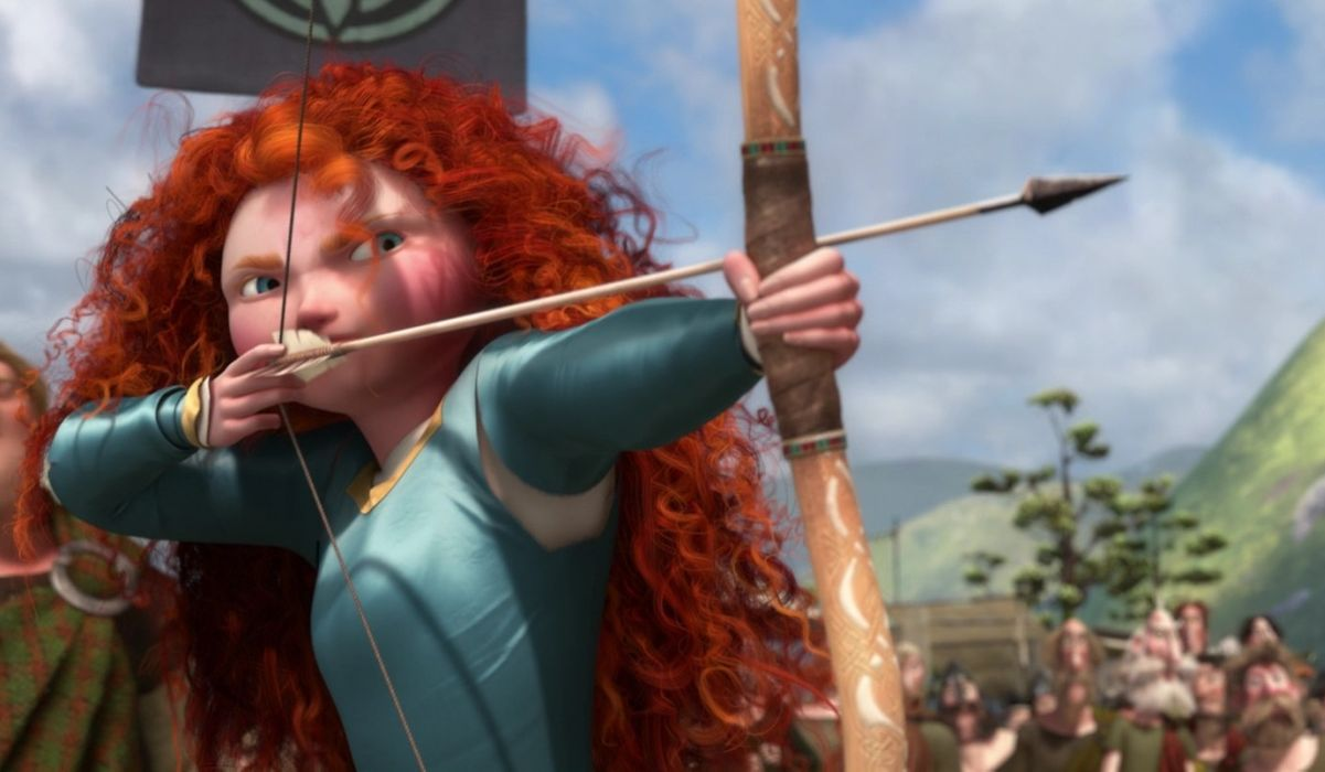 Brave still of merida's hair and bow