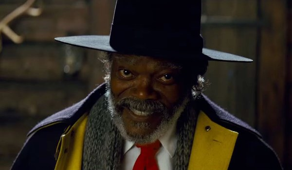 The Hateful Eight Marquis Warren smiling at the audience