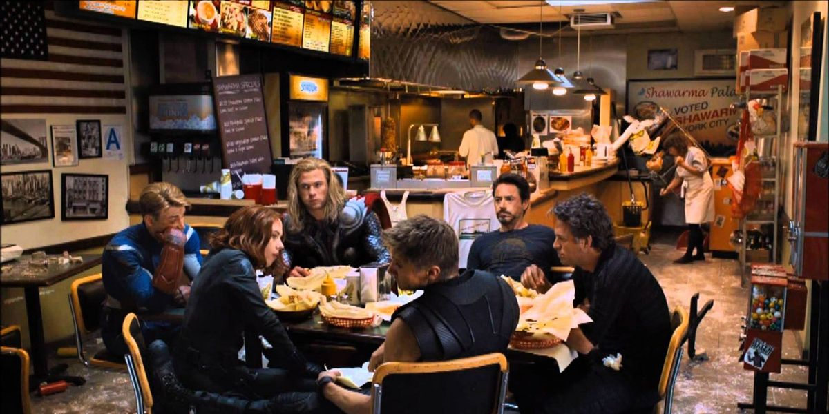The Cast of The Avengers (2012) in the end credits schwarma scene