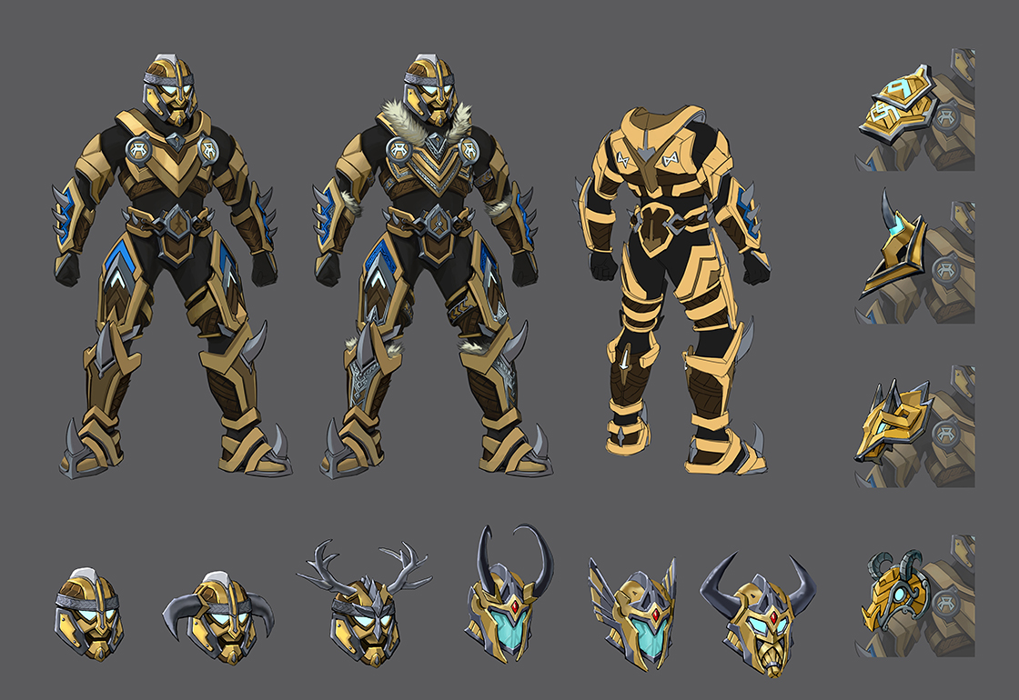 A spread of concept art for new Halo armour