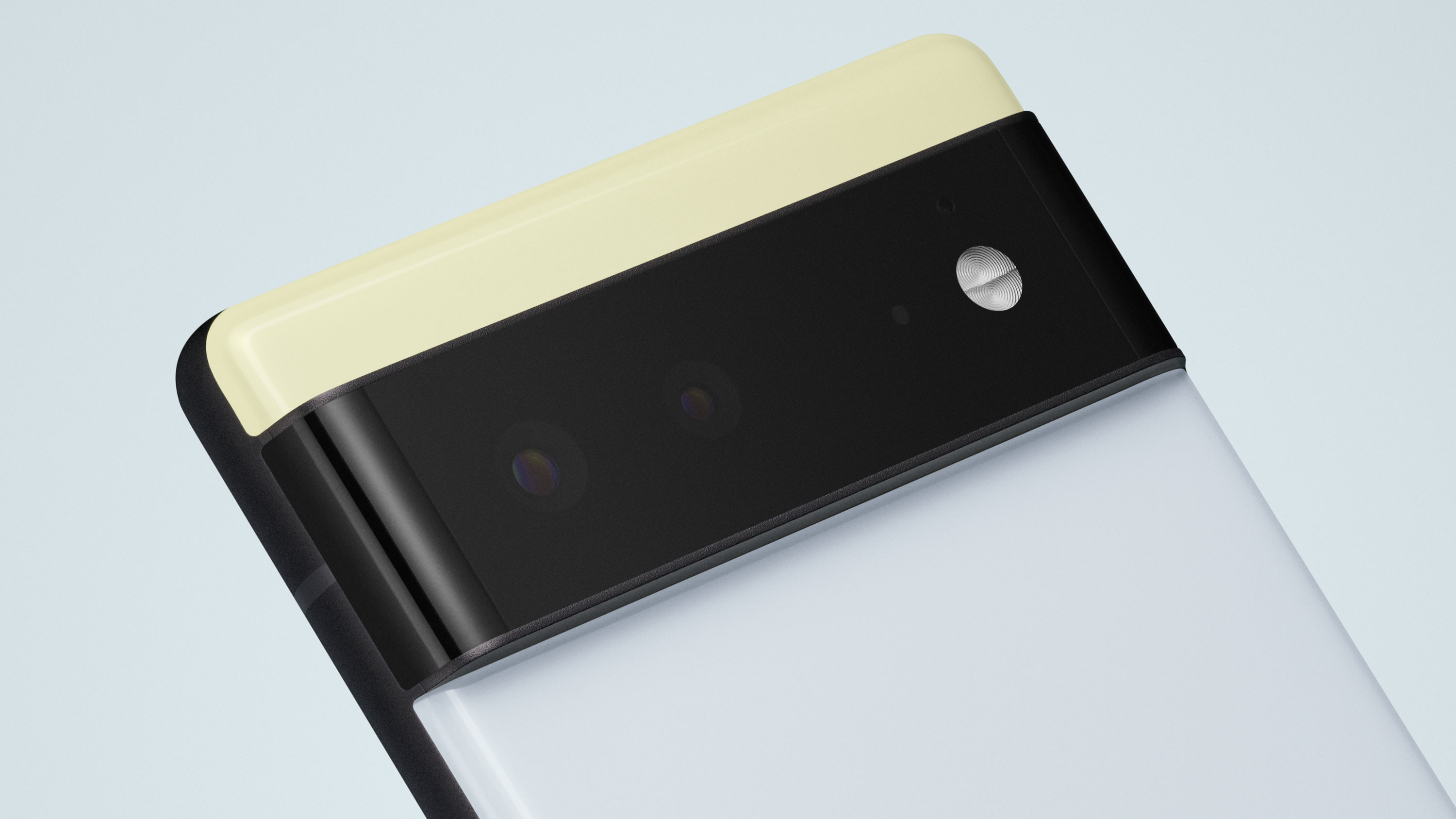 Close up of the camera bar on the rear of the Pixel 6