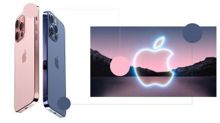 A photo of two fan rendered iPhone 13's being compared to the Apple Invite background.