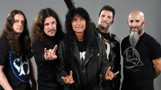 A photograph of Anthrax posing at the Golden God Awards