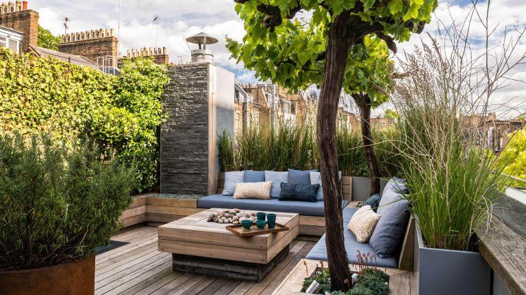 garden design ideas with decked roof terrace