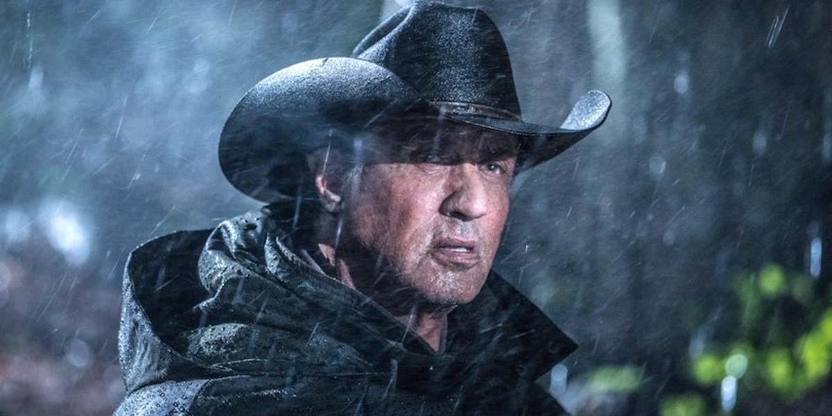 Rambo Last Blood Sylvester Stallone John Rambo in cowboy hat at night in the rain