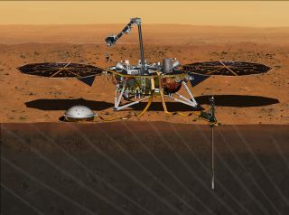 An Artist's illustration of NASA's InSight Mars Lander on the Martian surface. The mission, slated to launch in March 2016, will not be ready due to instrument leaks, NASA says.