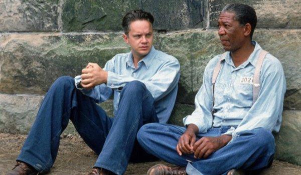 The Shawshank Redemption Tim Robbins Morgan Freeman sitting around in the yard