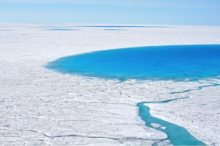 A supraglacial lake on the western margin of the Greenland Ice Sheet.